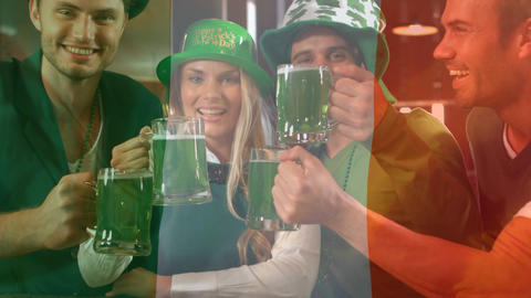 Irish people toasting together for the St Patricks day with an Irish flag on the background Animation