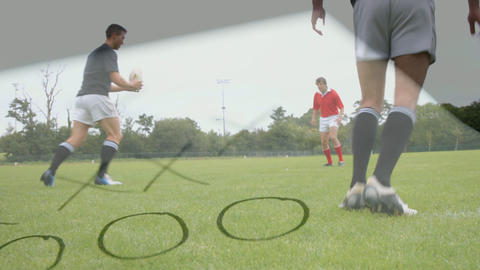 Rugby players training Animation