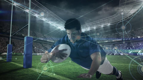Rugby player diving to score in a big stadium with light connections on the foreground Animation