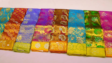 Shop of women's clothing. Sari Shop. Indian Traditional... Stock Video Footage
