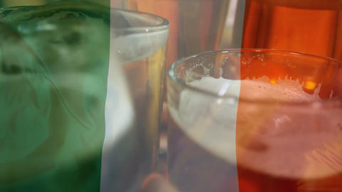 Friends toasting beer with an Irish flag Animation
