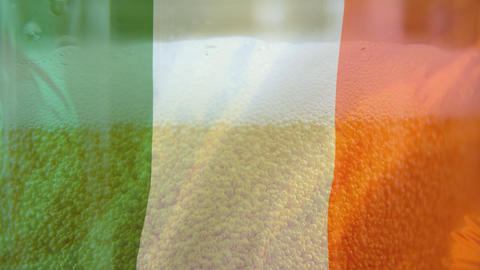 Draft beer and an Irish flag on the foreground Animation