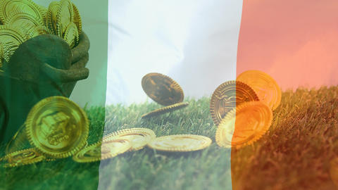 Cauldron full of gold coin falling on the floor with an Irish flag on the foreground Animation