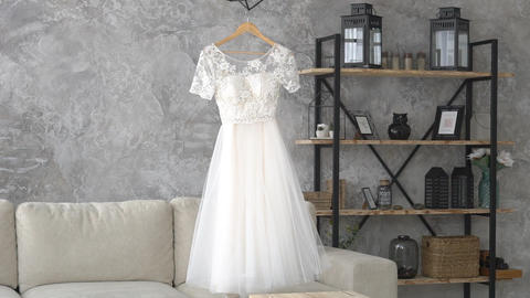 Wedding Dress In Bedroom Footage