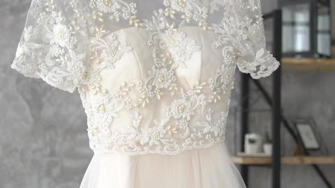 White Wedding Dress Slow Motion Footage