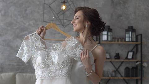 Bride Near Wedding Dress Footage