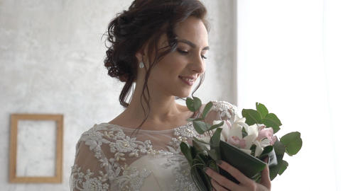 Bride In Wedding Dress With Bridal Bouquet Live Action