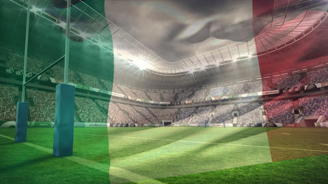 Stadium full of fans with an animated Italian flag on the foreground Live Action