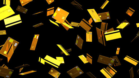 Gold Credit cards on black background Animation