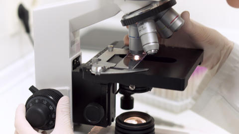 Scientist researcher using microscope in laboratory. Medical healthcare Live Action