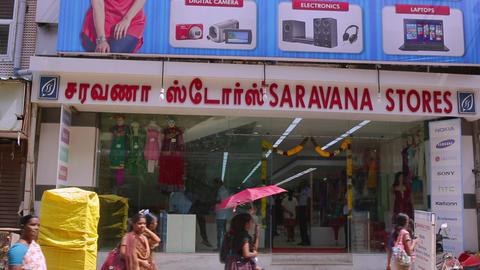 Saravana stores building exterior, A morning exterior establishing shot. Entrance of Shopping Mall Live Action