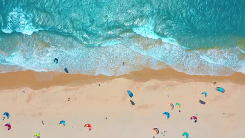 Aerial view. Tropical beach with turquoise ocean water and waves, aerial view Footage