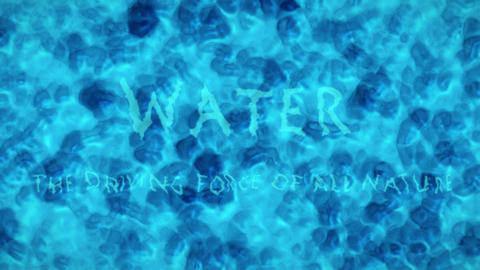 Turquoise Blue Water Surface With Splashing Waves and Text Saying Water The Driving Force Of All Animation