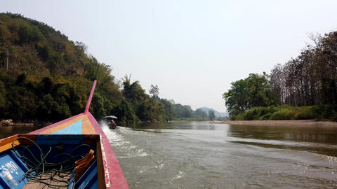 Chiang Rae, Thailand - 2019-03-13 - Long Boat on River -... Stock Video Footage