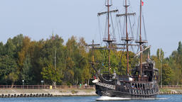 Tour ship in its way from Westerplatte to Gdansk, Poland Live Action