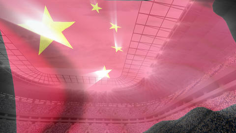 China flag floating on a stadium Animation