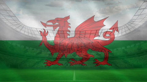 Welsh flag in a stadium background with pictures flahs Live Action