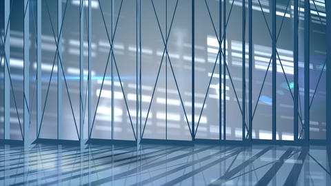 Animated empty office with bright lights CG動画