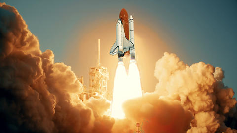 Space Shuttle launching in slow motion. Elements of this video furnished by NASA Live Action