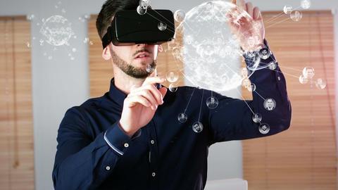 Man using virtual reality glasses Animation