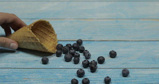 Berry ice cream. Berries of blueberries in a waffle on a blue wooden background Live Action