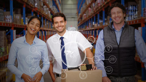 Excited workers in a warehouse holding box Animation