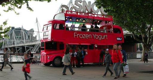 Double Decker Red Bus Food Truck In London Footage