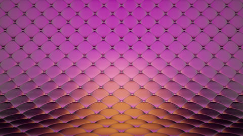 3D animation of pink quilted surface with beautiful metallic highlights. Realistic animation of high Animation