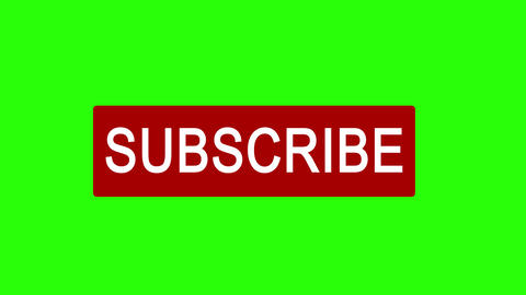 Subscribe button, icon, mouse clicking and bell for follow, notification on green background, alpha Videos animados