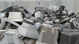 Electronik junk. Recycling. Electronic waste collection point Footage