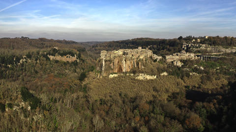 Aerial view of picturesque town of Calcata on high rock, Italy Live Action