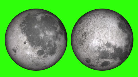 Phases of the moon. 2 different moon, lunar footage with shadow, half or full moon on green screen Live Action