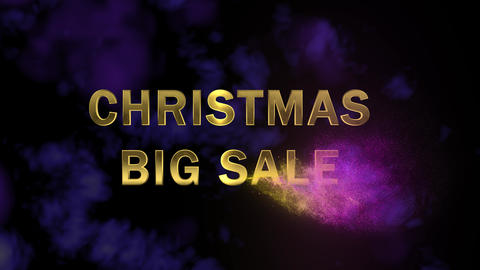 Golden letters 'Christmas Big Sale' and magical glittering particles Footage