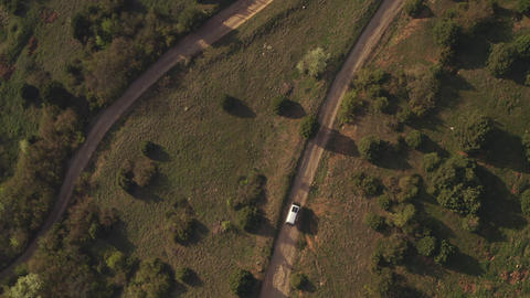 Aerial top view tourist car traveling on country dirt road through wooded area. Journey by car in Live Action