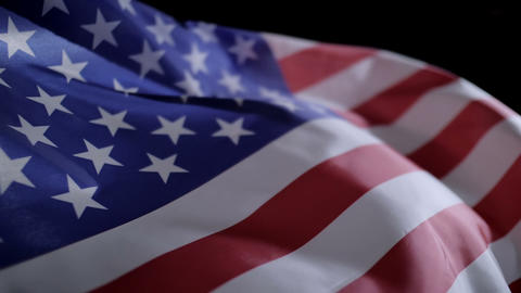 Close up of American flag slow motion Footage