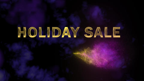 Golden letters 'Holiday Sale' and magical glittering particles Footage