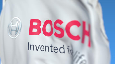 Waving flag with Robert Bosch GmbH logo, close-up. Editorial loopable 3D Live Action