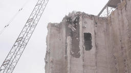 Wrecking Ball Breaking Down Concrete Structure Live Action