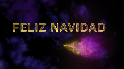 Magical sparkling particles. Appearing golden letters 'Feliz Navidad' Footage