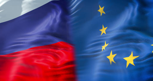 half flags of Russia and half European Union flag, wind waving movement, crisis between russia and Footage