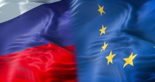 half flags of Russia and half European Union flag, wind…, Live Action