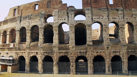 Italian attraction in Rome. Ancient amphitheater in capital of Italy. One of Footage