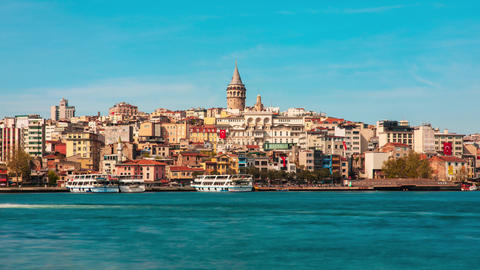 Timelapse View of the Istanbul City of Turkey. Historical Galata Tower and sunset at Bosphorus Footage