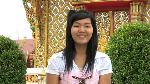 Asian Girl Doing Thai Style Greeting Stock Video Footage