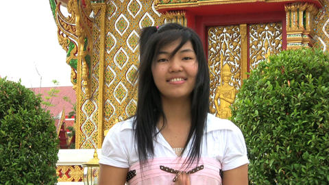 Asian Girl Doing Thai Style Greeting Footage