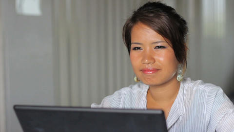 Asian Office Girl Reflecting At Work Stock Video Footage