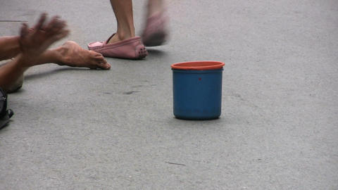 Beggar With A Blue Cup Footage