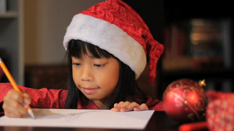 Cute Six Year Old Drawing Picture For Santa Claus Close Up Stock Video Footage