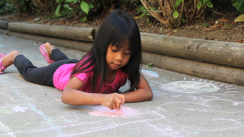 Asian Girl Doing Sidewalk Chalk Footage