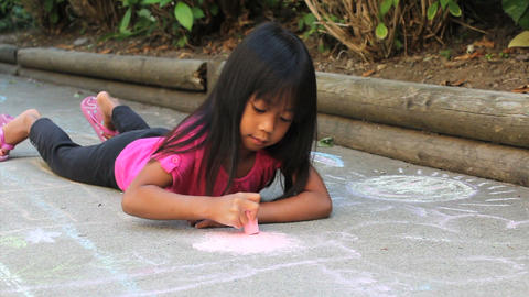 Asian Girl Doing Sidewalk Chalk Stock Video Footage